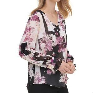 Calvin Klein Floral Blouse Size medium
